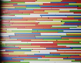 3D model Wall of colored wooden slats