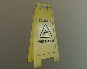 Wet Floor Sign 3D asset