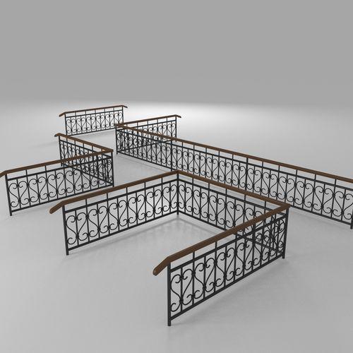 fence with railings 3d model max obj mtl fbx blend mat 1