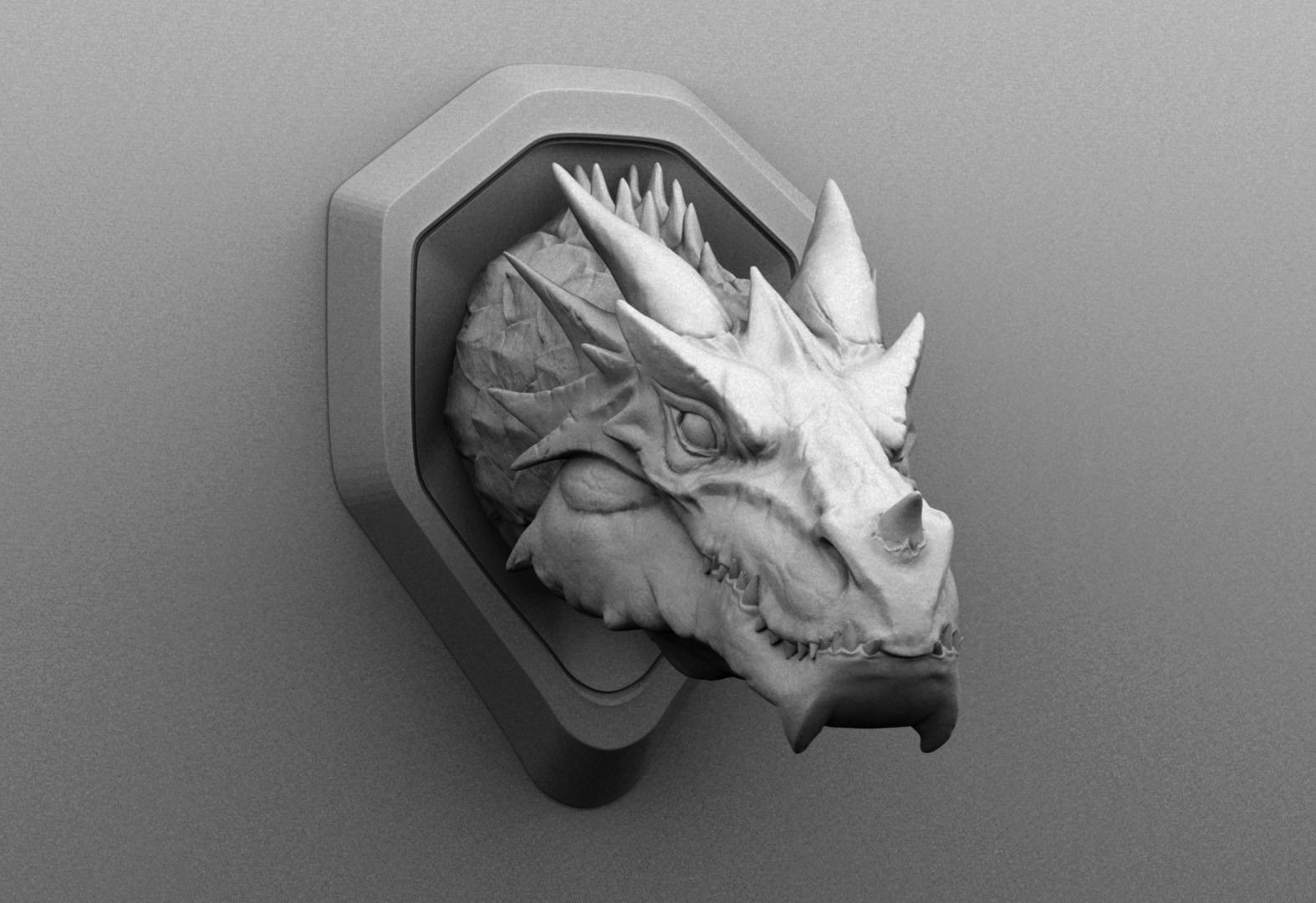 Faux dragon wall mount 3d model 3d printable obj stl for Decor 3d model
