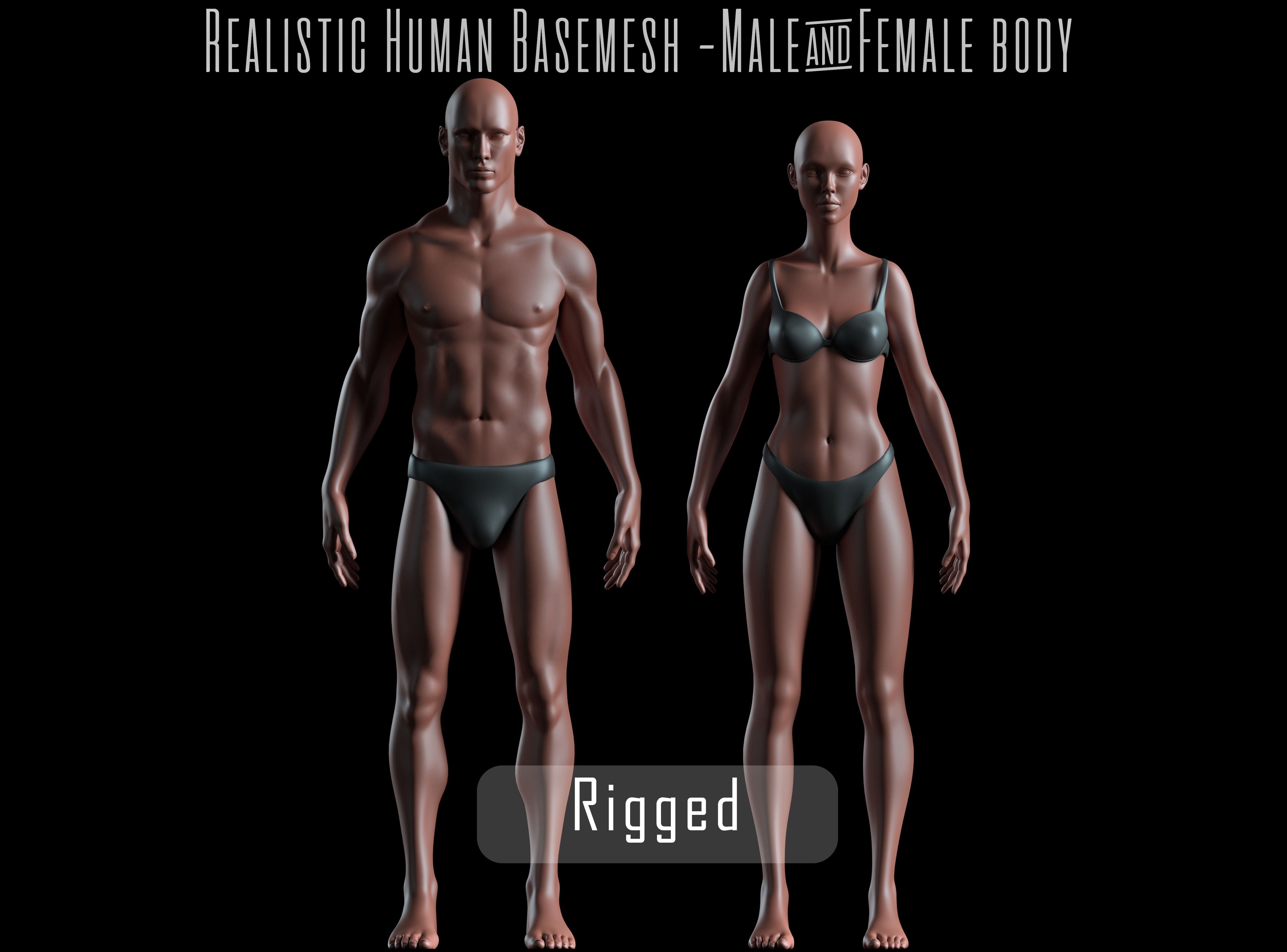 Realistic Human Basemesh - Rigged - UVMapped - Man - Woman Body