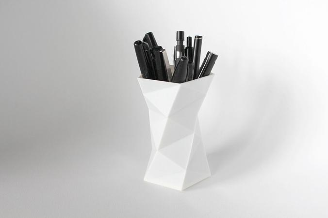 008a - pen holder - faceted -  3d model obj fbx stl mtl 1