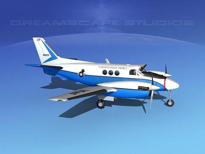 beechcraft c-6 transport usaf 3d model max obj 3ds lwo lw lws dxf stl 1