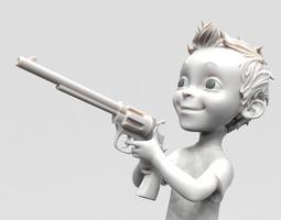 Small boy with gun 3D Model