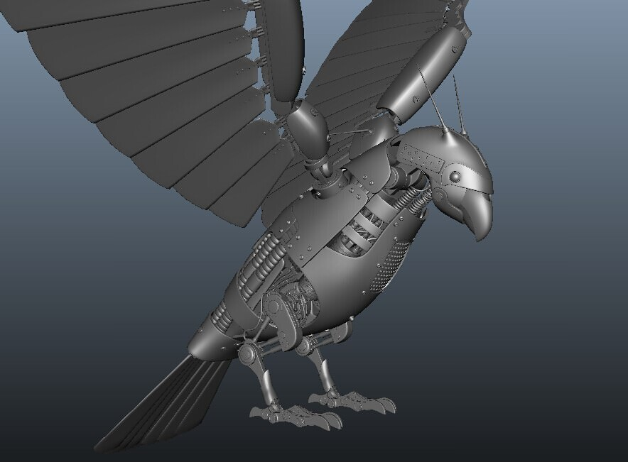 Bird Robot Model 3d Model Obj Ma Mb