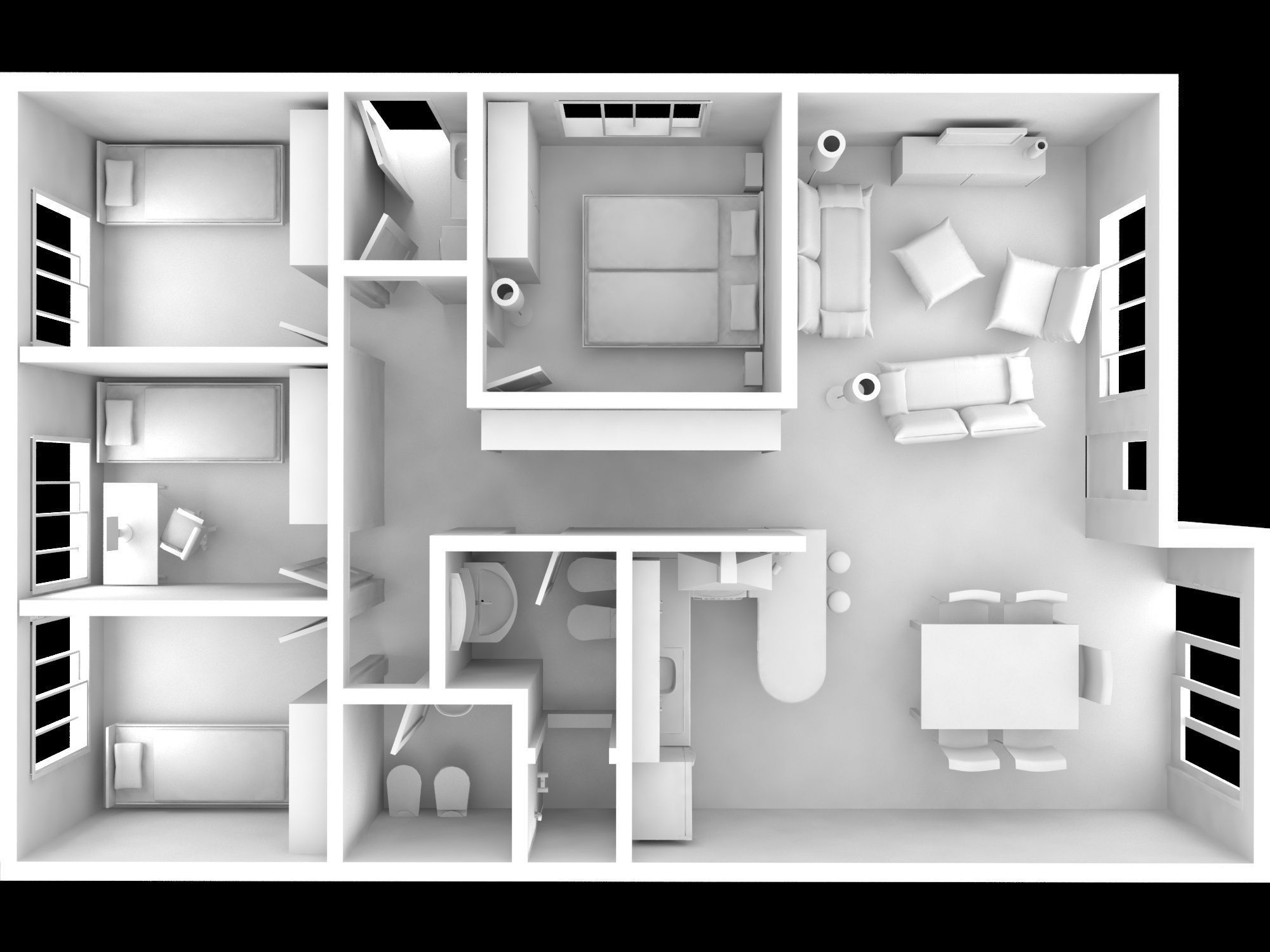 Interior House Full Modeled 3d Model Max 1 ...