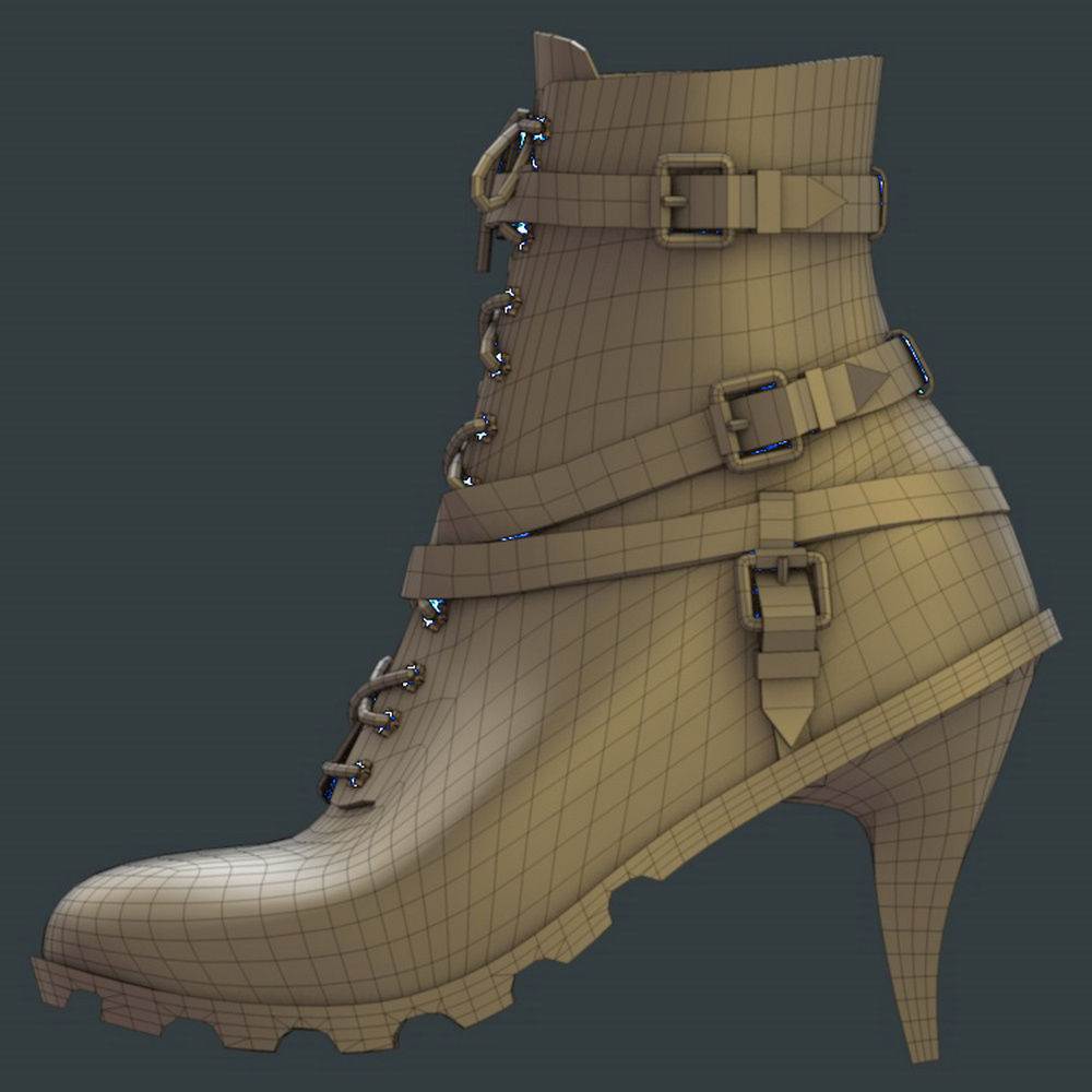 High heeled urban boots 3d model 3ds fbx for New model boot