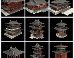 3D model Asian temple Collection