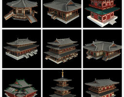 oriental asian temple collection 3d