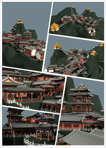 chinese classical temple in the mountains 3d model max fbx 1