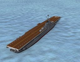 ticonderoga class carrier cv-37 uss princeton rigged 3d