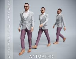 3D office man fast walk