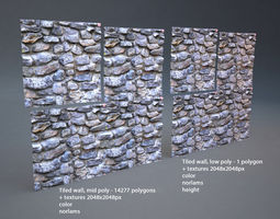 3D model Stone wall 001 tiled