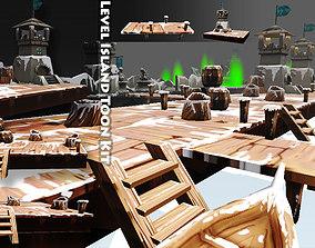 Level Island Toon Kit Pack 3D asset