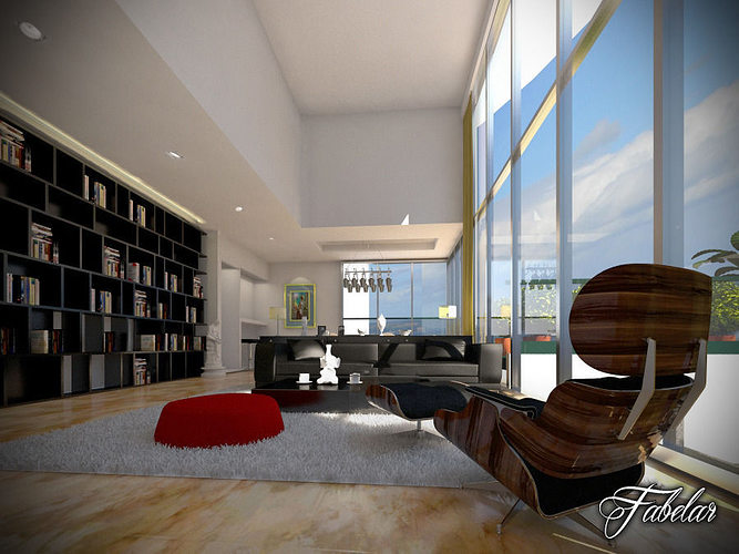 Living room 02 3d model max obj 3ds fbx c4d for Living room 3ds max