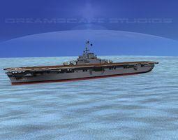 ticonderoga carrier cv-38 uss shangri-la 3d animated