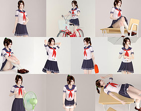 3D 10 poses of Japanese schoolgirl Natsumi posed