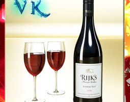 red wine bottle rijks and cup 3d