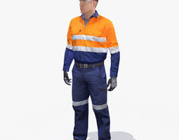 mining safety worker hi-vis 3d model low-poly rigged max ma mb