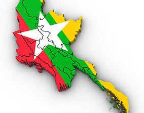 3d Political Map of Burma