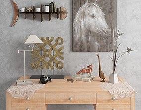 3D set of decorative objects model