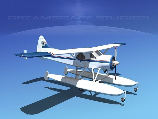 dehavilland dhc-2 civil air patrol 3d model max obj 3ds lwo lw lws dxf stl 1