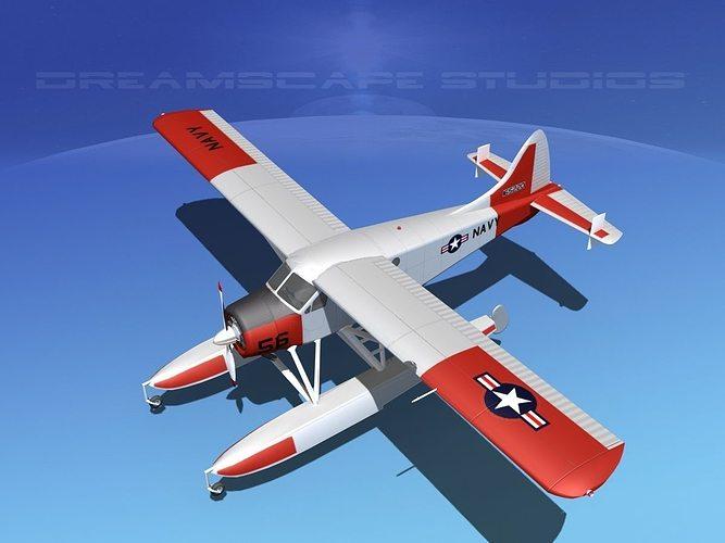 dehavilland dhc-2 us navy 3d model max obj mtl 3ds lwo lw lws dxf stl 1