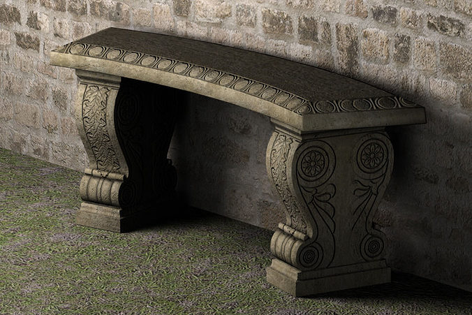 stone bench - low poly 3d model low-poly ma mb 1