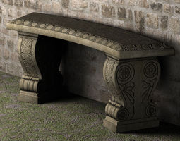 Stone Bench - Low Poly 3D Model