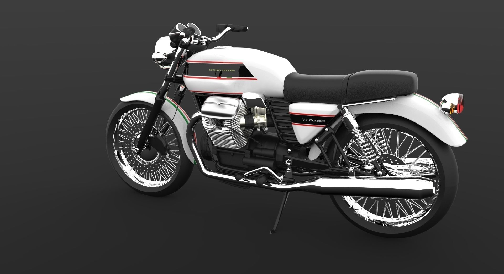 Moto Guzzi V7 Classic Cafe Racer 3d Model Obj 3dm
