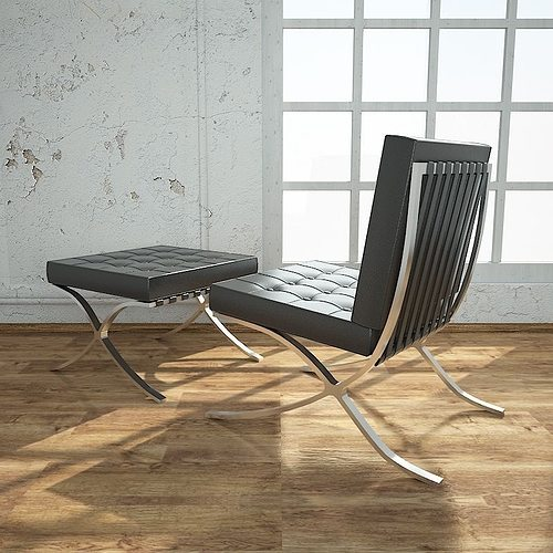 ... barcelona chair with ottoman 3d model max obj 3ds fbx dxf 4 ... & 3D model Barcelona Chair With Ottoman | CGTrader