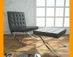 Barcelona Chair With Ottoman 3D Model