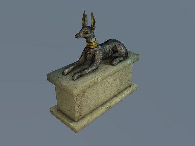 low poly anubis sculpture 3d model low-poly max obj mtl 3ds fbx c4d 1