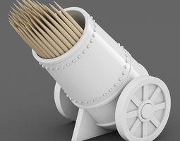 Cannon Toothpick Holder 02 3D Model