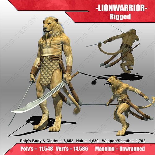 lion warrior 3d model low-poly rigged max fbx 1
