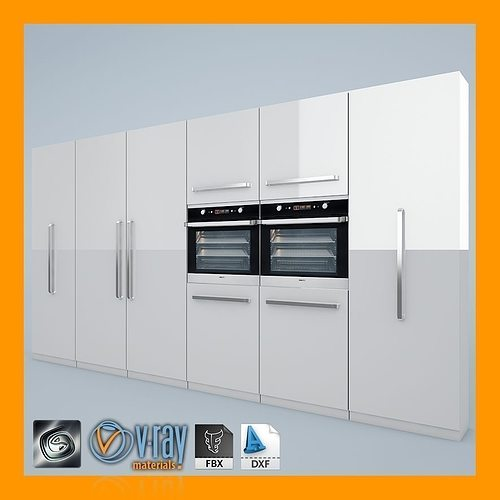 Ovens 3d kitchen set cgtrader for Model kitchen set sederhana