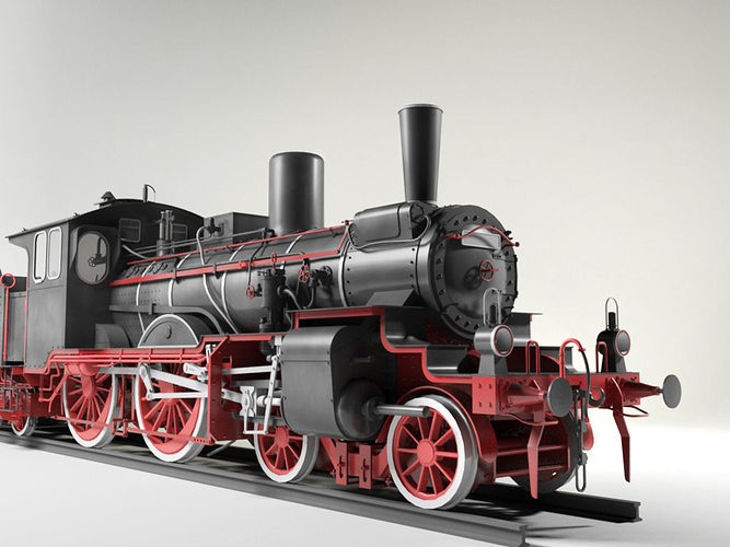 prussian p4 br36 steam locomotive 3d model max obj mtl 3ds skp 1