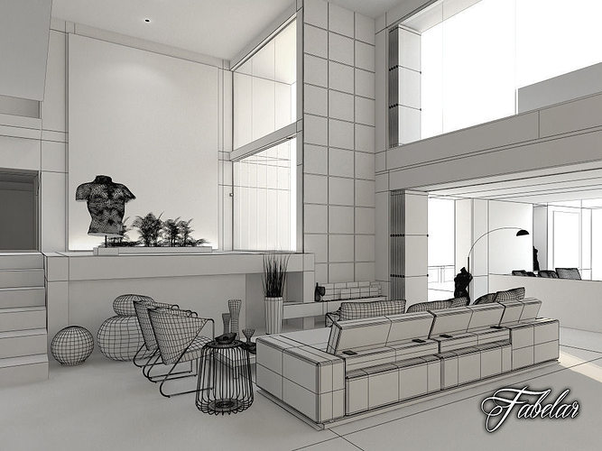 living room living architecture 3d cgtrader