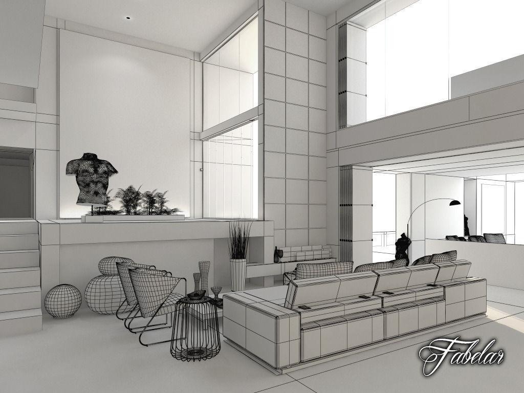 Living room 06 3d model max obj fbx c4d dae for Living room 3d max