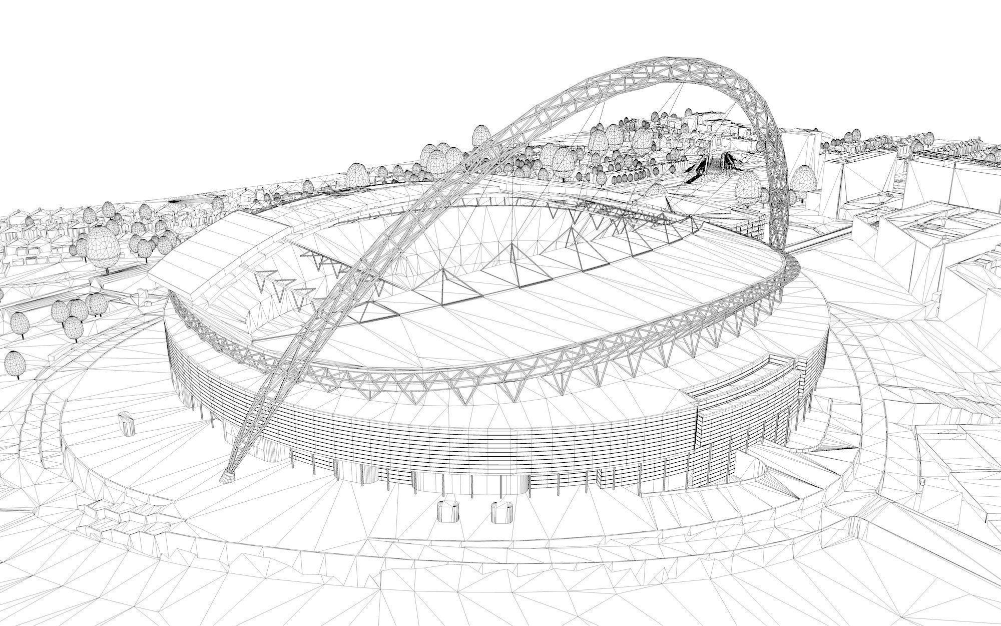 wembley stadium london 3d model obj 3ds fbx c4d