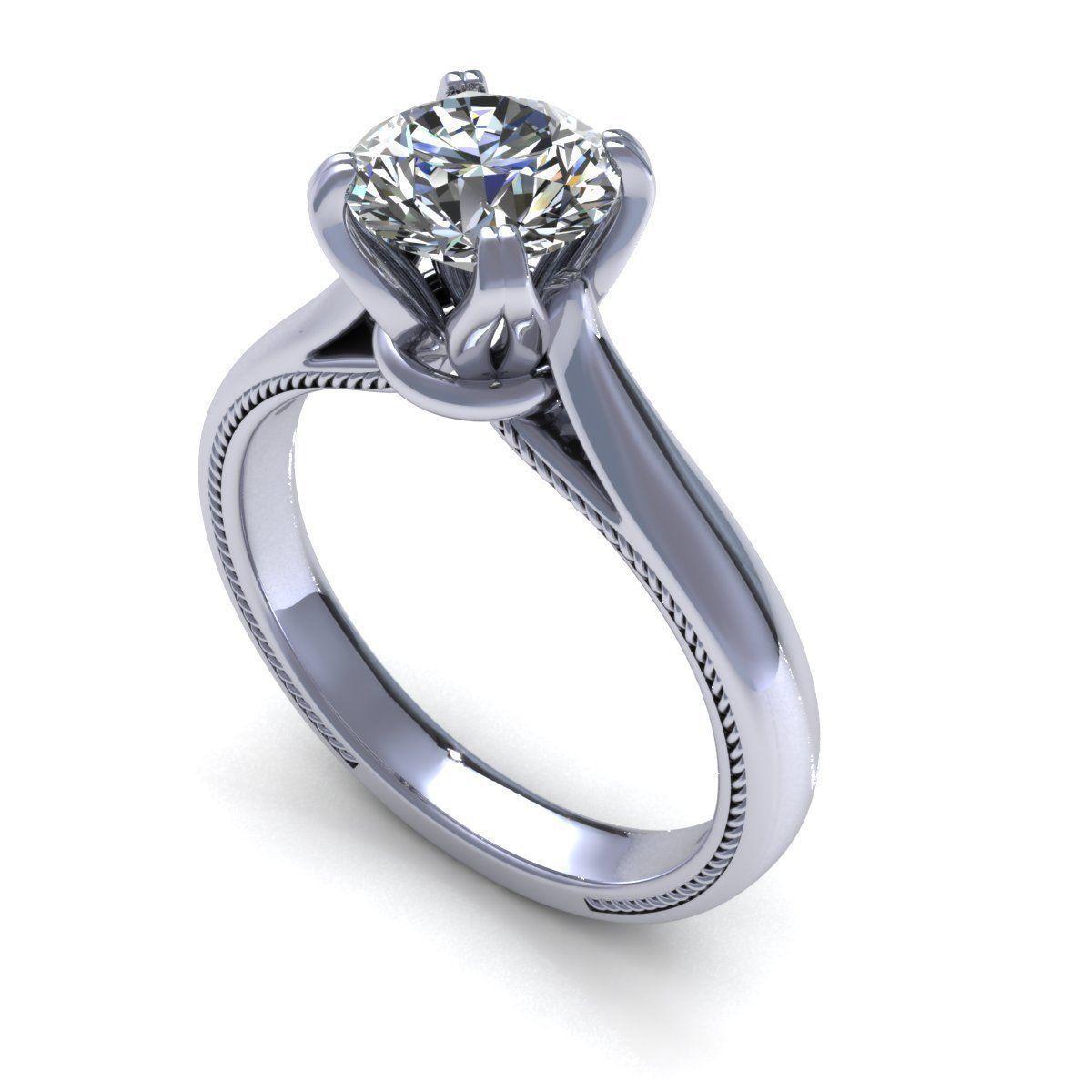 solitaire engagement ring 3d model 3d printable  stl