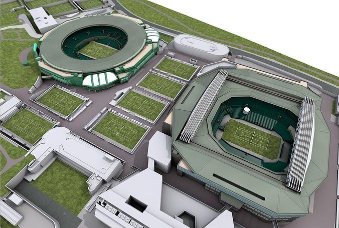 wimbledon tennis club  -  london 3d model obj 3ds fbx c4d 1