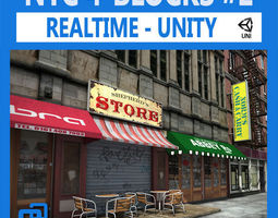 NYC 4 Blocks  Unity-Set 2 3D Model