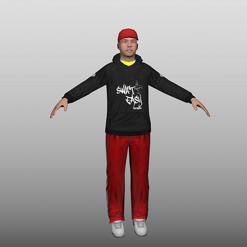 hip hop low poly 3d model low-poly max obj mtl fbx 1