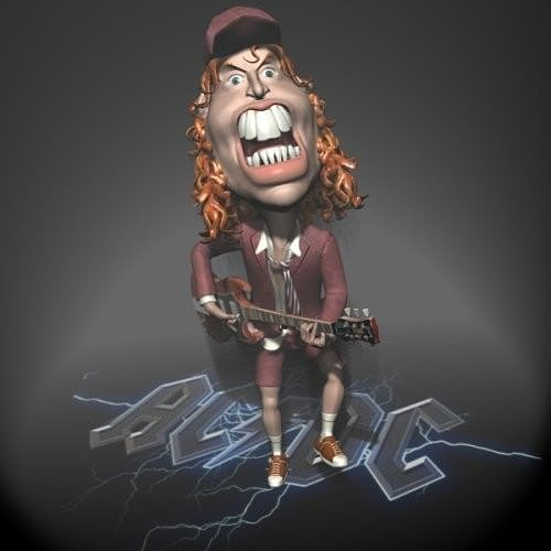 Angus Young ACDC 3D character toon
