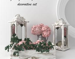 Hydrangea and ivy - decorative set 3D model