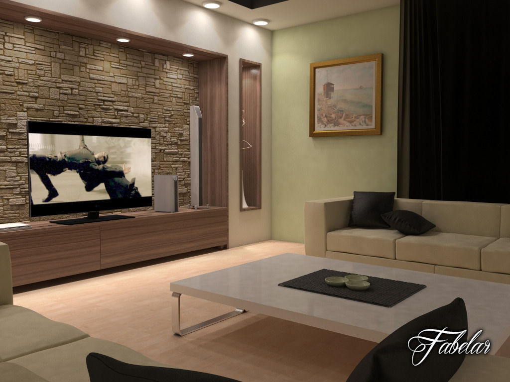 Living room 17 3d model max obj fbx c4d dae for Living room 3d model