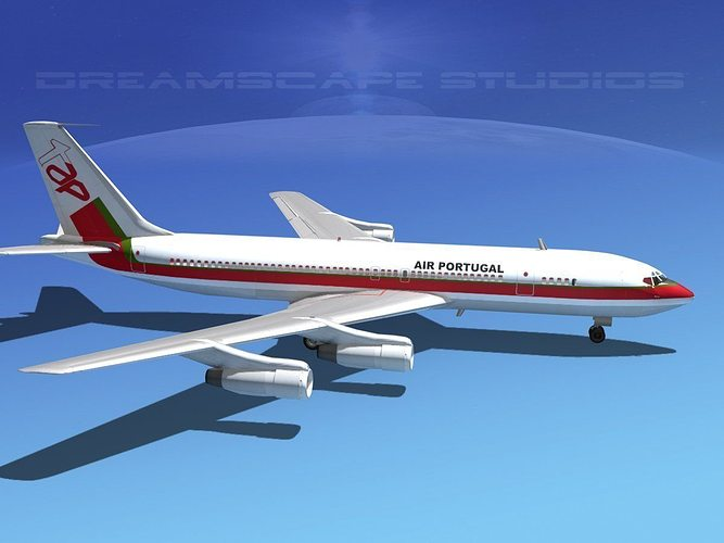 boeing 707 air portugal 3d model max obj 3ds lwo lw lws dxf stl 1