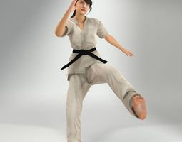 Karate Lady Lite Rig 3D model