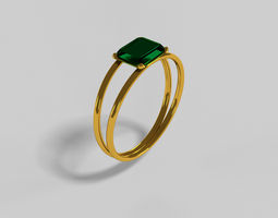 Gold Green-Crysal Ring 3D printable model